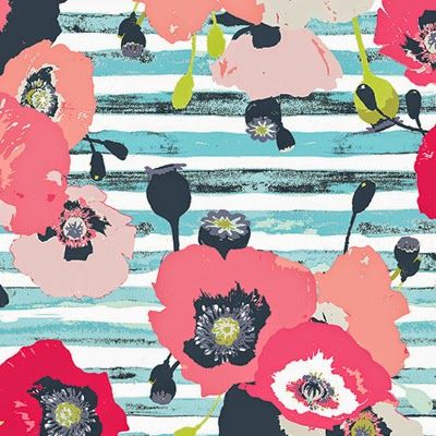 Love this messy poppy pattern on striped background!