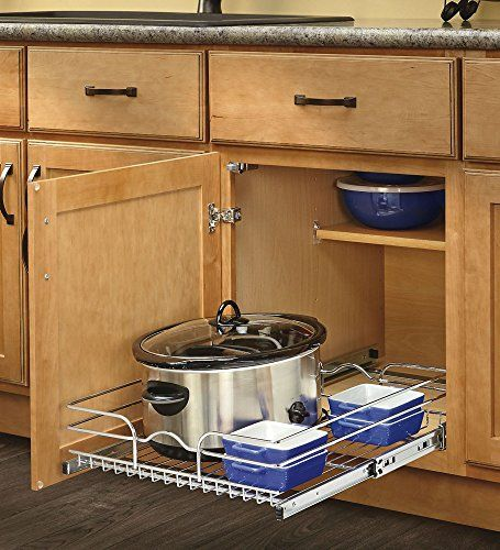 Rev A Shelf 2 Tier Pull Out Base Cabinet Basket Drawer: 18 In. W X 22 In. D Base