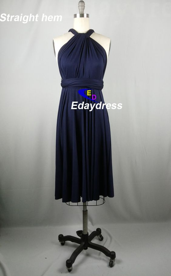 Straight Hem Knee Tea Length Navy Blue by Dresslongbridal on Etsy, $33.90