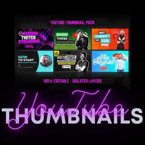 Youtube Thumbnail Templates Set 1 In 2020 Youtube Design Facebook Design Youtube Thumbnail