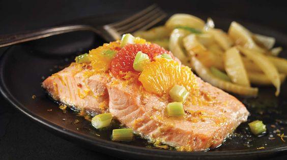 Papillotes de saumon à l'orange et au pamplemousse rose
