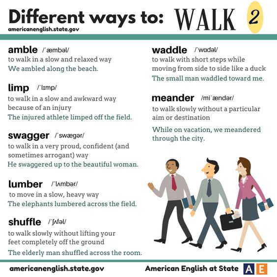 we posted about different ways to walk. Here are more words to use for different ways to walk! #AmericanEnglish: