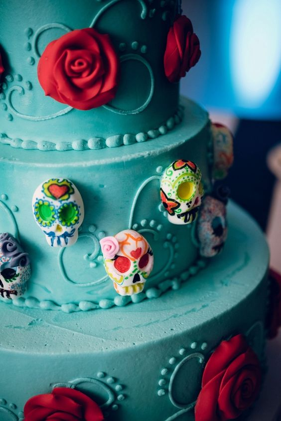 candy skull wedding cake rockabilly meets a hint of dia de los muertos at a 50s 12352