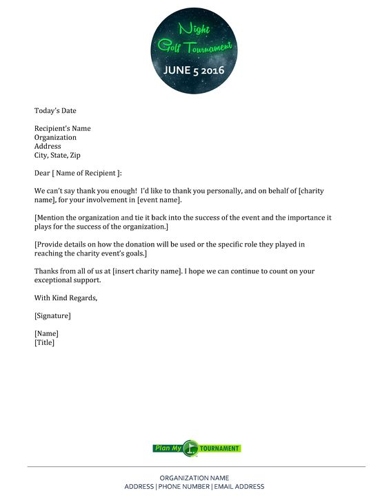 Free Night Golf Tournament Thank You Letter Template   - name address phone number template