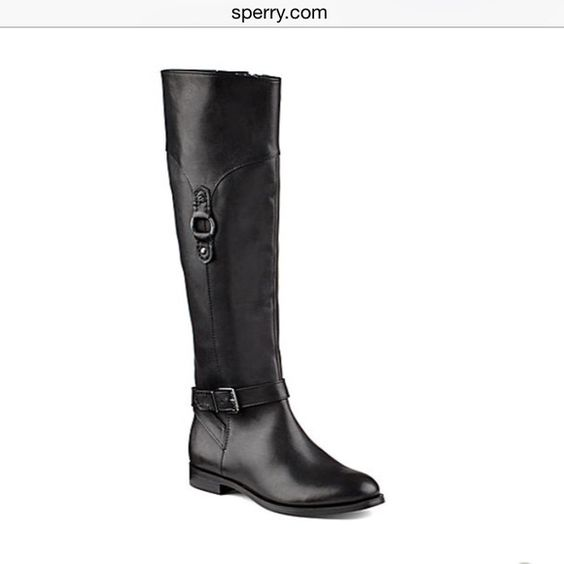 """Sperry """"Victory Ride"""" black riding boots Used with box Sperry Black leather riding boots. Showing some signs of wear. Run like an 8.5-9. Dark silver hardware. NO TRADES. Sperry Top-Sider Shoes Heeled Boots"""