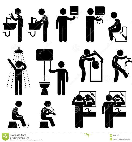 hygi ne personnelle dans le pictogramme de toilette pictogrammes pinterest photos. Black Bedroom Furniture Sets. Home Design Ideas
