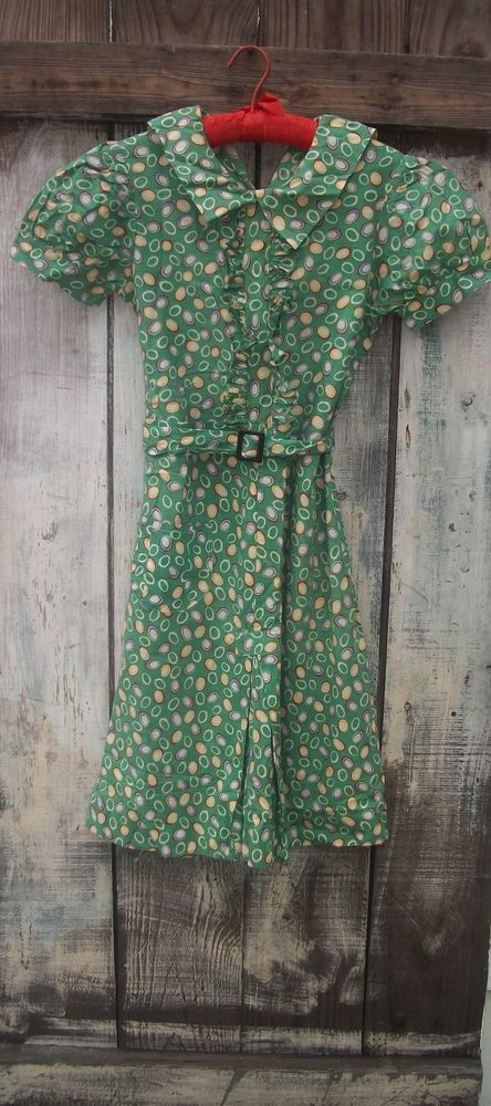 VINTAGE 40s 50s NOVELTY PRINT PIN UP DAY DRESS X-SM POOF SLEEVES ORIGINAL BELT  #UNKNOWNHANDMADE