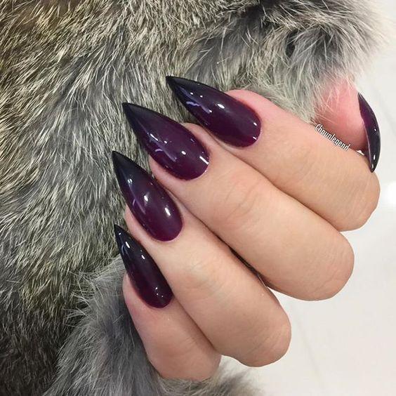 Deep Plum Ombre Goth Nails Plum Nails Purple Nails