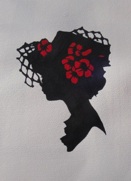 "Silhouettes - ""Hannah"" - Acrylic painting by Lorraine Skala - prints and notecards available at lorriskala@aol.com"