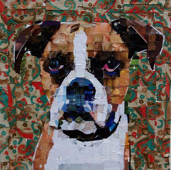 "#boxer #collage on canvas 2014. 20 x 20"" mydogcollage.com"