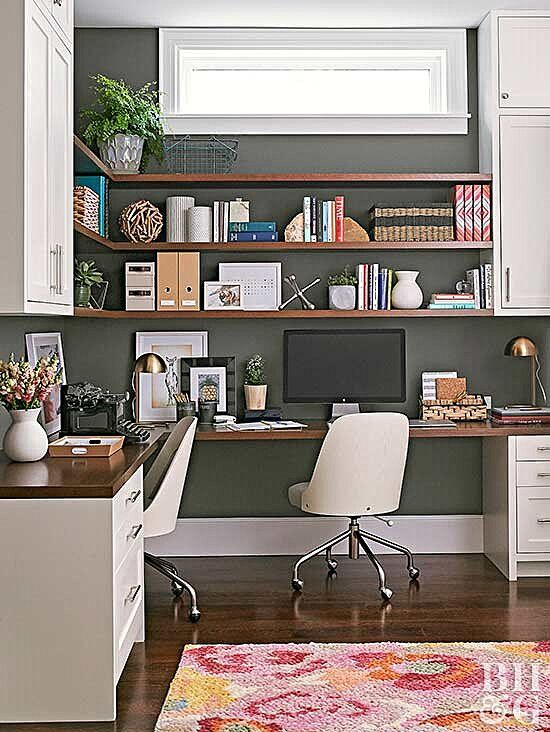 This Small Bungalow Makes The Most Of Its Little Layout Basement Home Office Cheap Office Furniture Shared Home Office