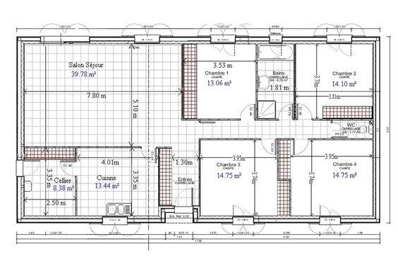 Plan de maison plain pied gratuit 4 chambres 1 plan for Plan maison complet gratuit