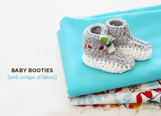 knit baby booties with fabric