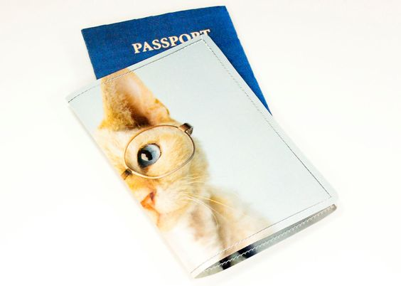 Cat Passport Cover - Recycled Paper Passport Cover with Cat Wearing Glasses. $12.00, via Etsy.