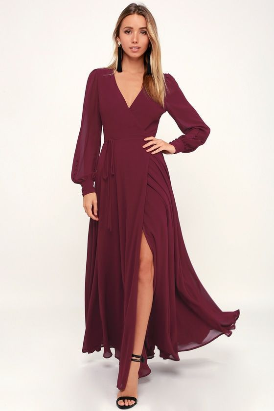 19++ Long sleeve burgundy dress info
