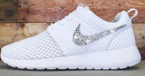 #esty Glitter Kicks Nike Roshe Runs With Swarovski Crystal Rhinestones All White