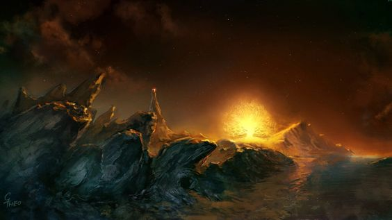 Thus unseen [Melkor] came at last to the dark region of Avathar. That narrow land lay south of the Bay of Eldamar, beneath the eastern feet ofthe Pelóri, and its long and mournful shores stretched away into the south, lightless and unexplored. ~ The Silmarillion, Of the Darkening of Valinor. (Artwork: Shadowed Land Avathar, by grrrod on deviantart)