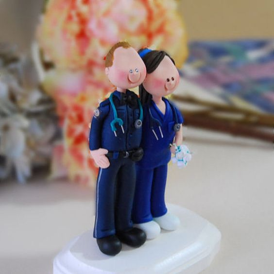 wedding cake topper paramedic and nurse figurines on etsy nursing pinterest. Black Bedroom Furniture Sets. Home Design Ideas
