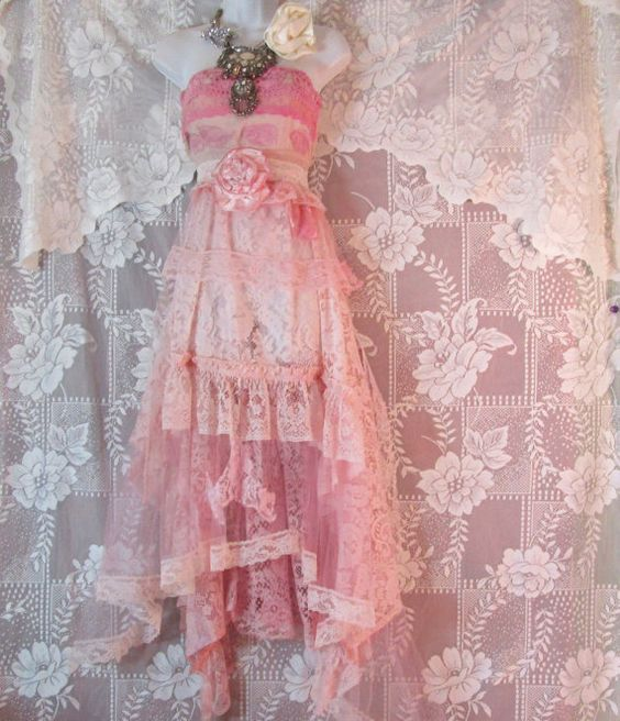 Pink lace dress  tulle gypsy sheer rose fairytale bohemian small by vintage opulence on Etsy