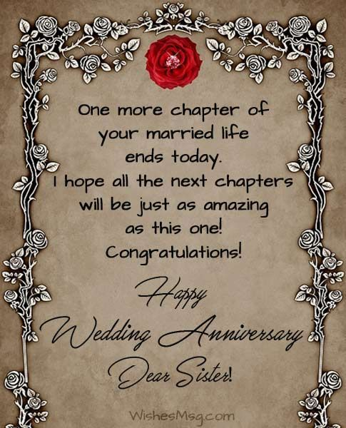 Anniversary Wishes For Sister Wedding Anniversary Messages Anniversary In 2020 Wedding Anniversary Wishes Wedding Anniversary Message Anniversary Wishes For Sister