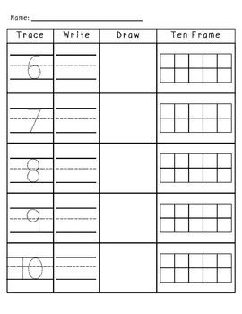 Numbers 1-10 Trace, Write, Draw, and Ten Frames   Ten Frame ...