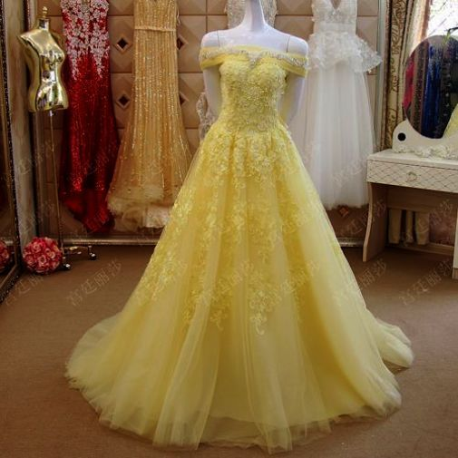 Long Prom Dress V Neck Prom Dress Lace Prom Dresses Yellow Yellow Prom Dress Belle Formal Dresses Prom