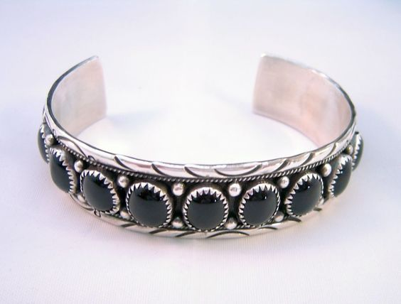 Vintage traditional design sterling silver and onyx cuff bracelet #Handmade $85.00 Buy it Now
