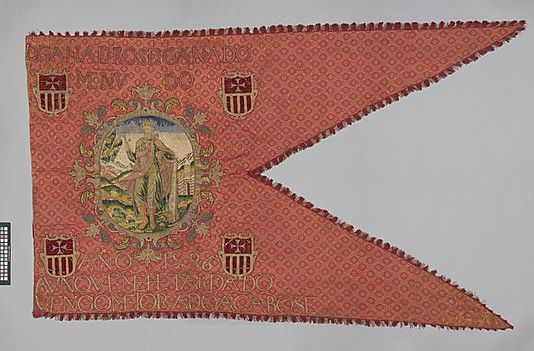 Banner;  Date: 1596;  Culture: Spanish;  Medium: Silk and metal thread;  Dimensions: H. 50 x W. 90 inches (27.0 x 228.6 cm);  Classification: Textiles-Embroidered;  Accession Number: 58.172