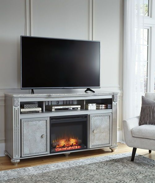 Zolena Champagne Lg Tv Stand With Led Fireplace Insert Fireplace