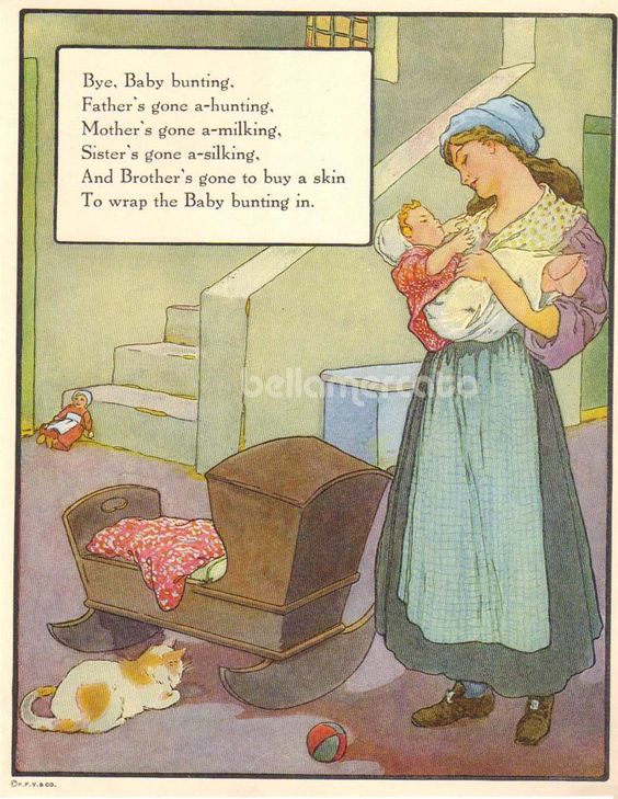 1920s Mother Goose Bye Baby Bunting Print Illustration by Frederick Richardson Vintage Book Art