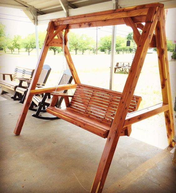 Cedar A-frames are back in stock! We also have cedar pine and poly swings ready for your porch. #swing #aframe #cedar #pine #poly