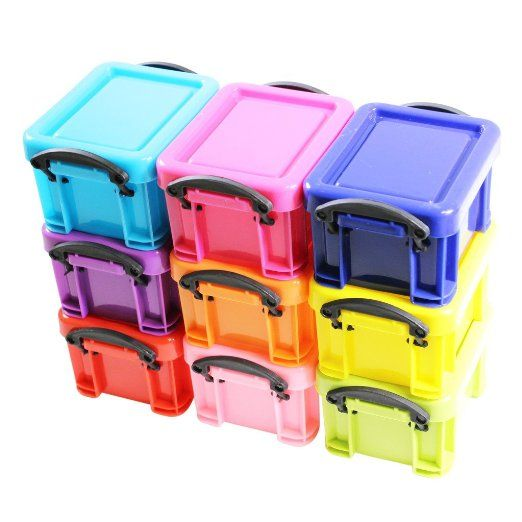 Mini scatole stoccaggio colorate in plastica chiusura a clip contenitori set da 9 di Kurtzy TM