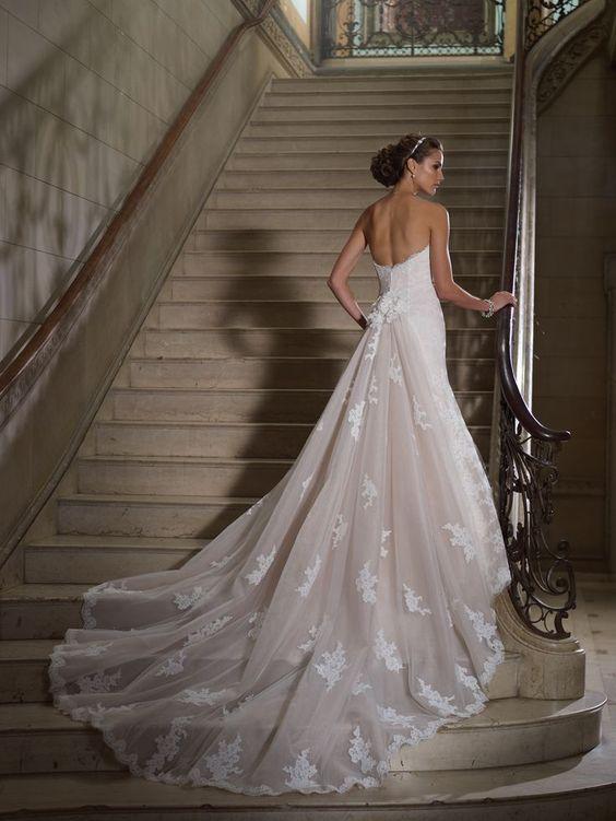 bridal dress with dramatic train