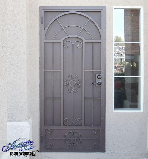 Wrought iron security screen door custom made powder for Custom screen doors
