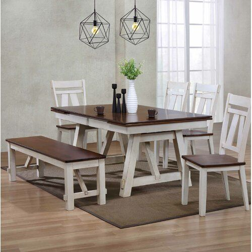 Keturah 6 Piece Extendable Dining Set Farmhouse Dining Room