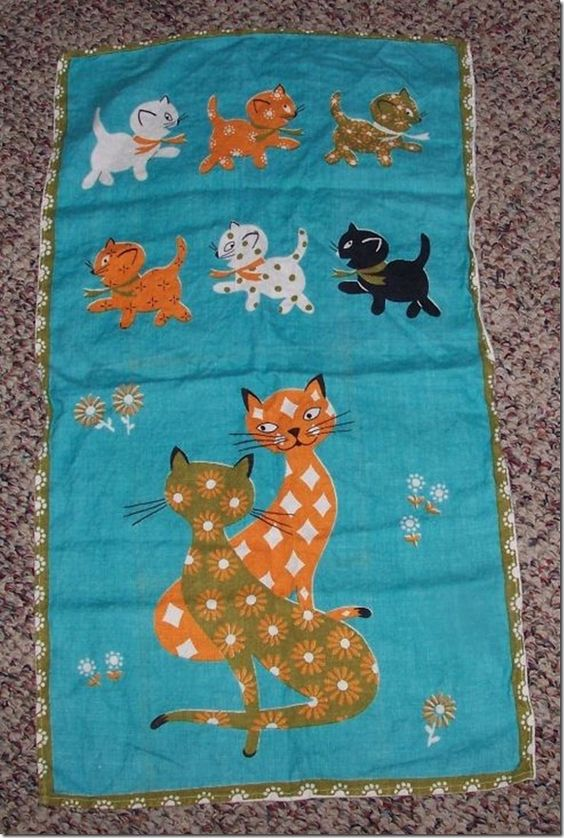 Vintage Retro Modern Turquoise and Orange Kitty Cat Linen Kitchen Towel
