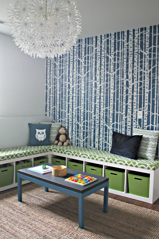 Playful blue and green playroom by @Jen Jones - She stenciled the tree wall!