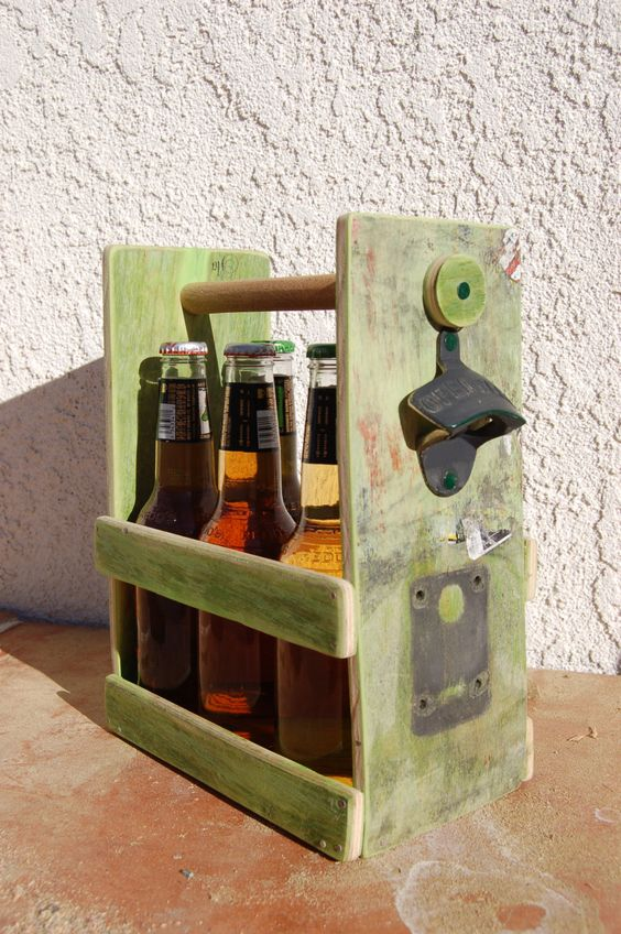 Beer or Soda Bottle Six Pack Holder With Bottle Opener;  Made from a GIRL Skateboard  deck. by WoodCore on Etsy