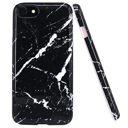 iPhone 7 Case, JAHOLAN Black Marble Design Slim Shockproo