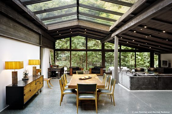 Sullivan Canyon | Los Angeles: Dining Room, Ranch House, Livingroom, Living Room, Skylight, House Idea, Glass Ceiling
