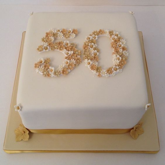 50 - Golden Wedding anniversary cake - For all your Golden Anniversary cake decorating supplies, please visit http://www.craftcompany.co.uk/occasions/anniversary/golden-wedding-anniversary.html