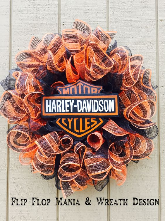 Harley Davidson wreath, orange and black deco mesh wreath, Flip Flop Mania & Wreath Design