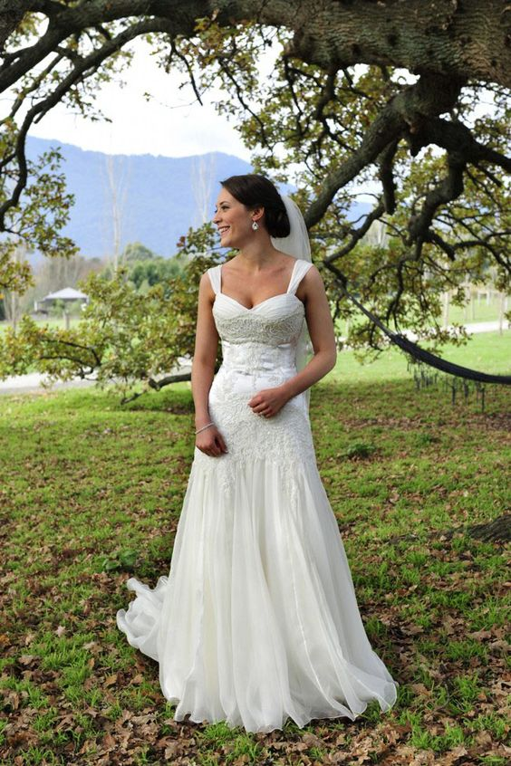 Fit and Flare Sleeveless Lace Accented Floor Length Vintage Wedding Dress