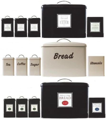 SET OF 5 METAL KITCHEN STORAGE JARS CANISTERS BREAD SUGAR TEA COFEE UTENSILS