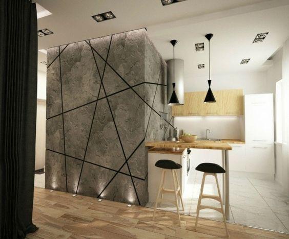 Ideen kreative Wandgestaltung Küche Essplatz Laminatboden ...