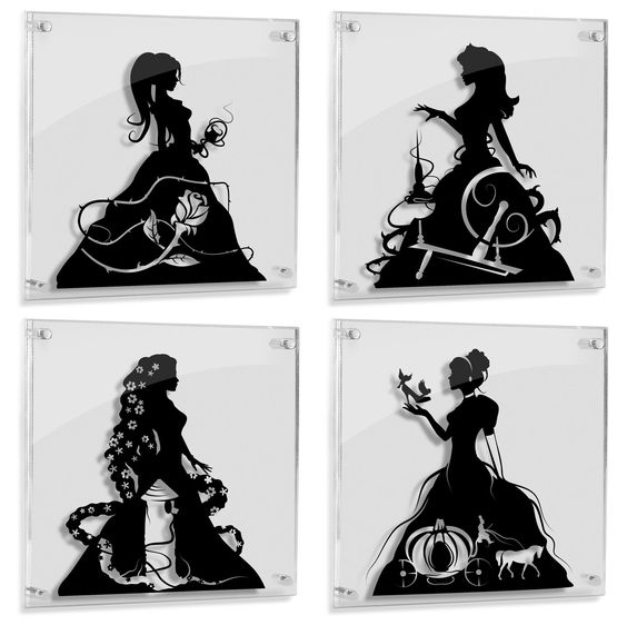 Princesses Belle Aurora Rapunzel Cinderella silhouette hand cut paper