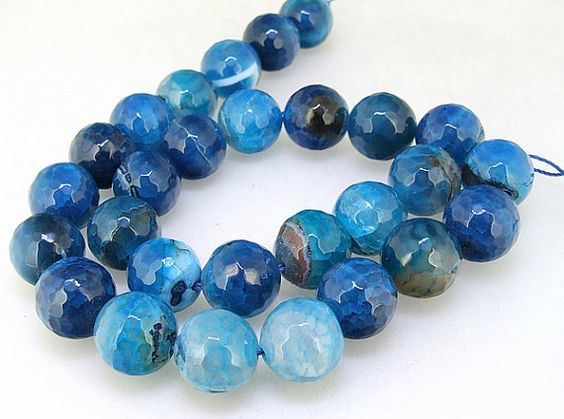Charm Candy Faceted Blue Candy Agate 14mm Gemstone by backgard, $12.95