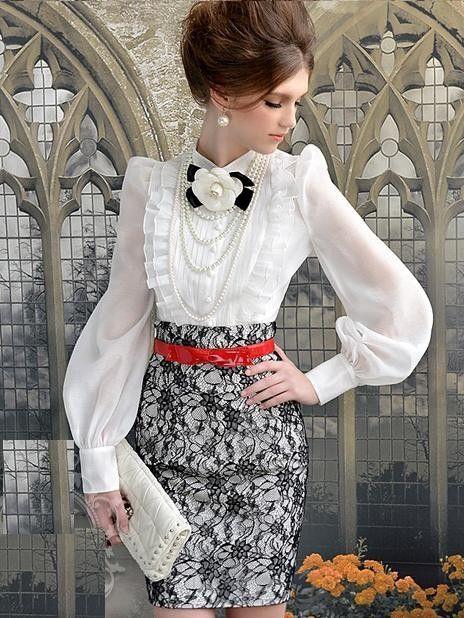 Morpheus Boutique - White Chiffon Vintage Style Bow Ruffle Long ...