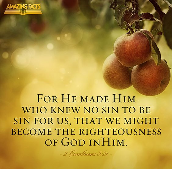 For he hath made him to be sin for us, who knew no sin; that we might be made the righteousness of God in him.  (2 Corinthians 5:21)
