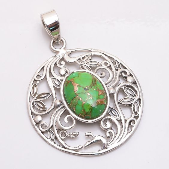 Handmade Green Copper Turquoise Filigree 925 Sterling Silver Pendant Jewelry #PI #Pendant